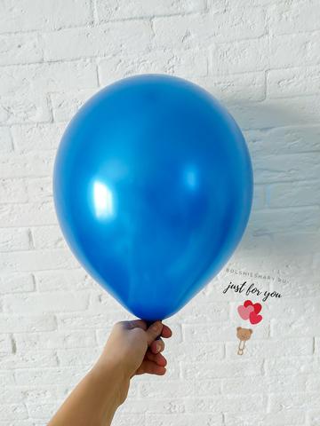 Воздушный шар синий металлик