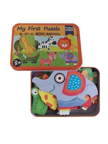 Развивающие деревянные пазлы в жестяной коробке Животные SHAPES PUZZLE 31 деталь, 6 видов для детей от 3-х лет