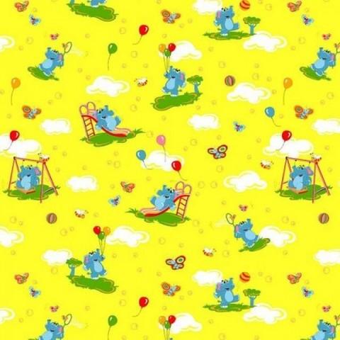 Бязь ГОСТ детская 150 см 315/5 Слоны с шариками цвет желтый