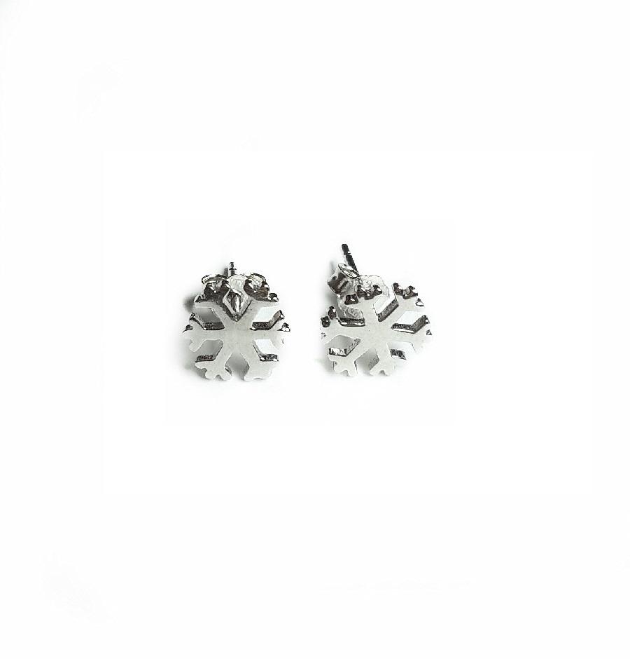 Snowflakes studs Earrings, sreling silver