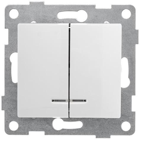 Выключатель двухклавишный, 10 А 220/250 В~. Цвет Белый. Bravo GUSI Electric. С10В28-001