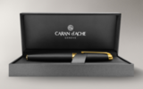 Шариковая ручка Carandache Leman Black lacquered matte GP латунь лак отделка позолота (4789.296)