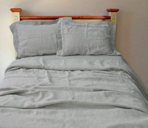 Комплект льняного постельного белья  натуральный серый лён