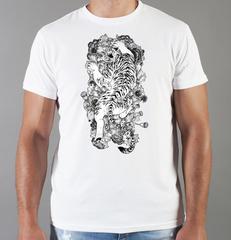 Футболка с принтом Тигр (Tiger) белая 0040