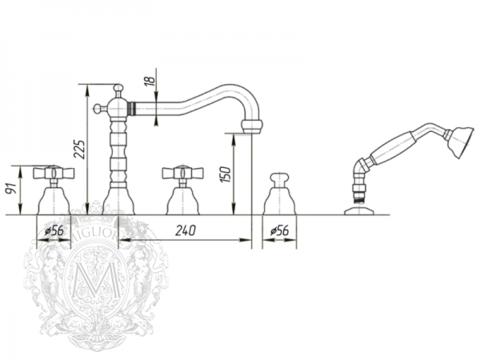 Смеситель на борт ванны с душем Migliore Princeton, ML.PRN-880 схема