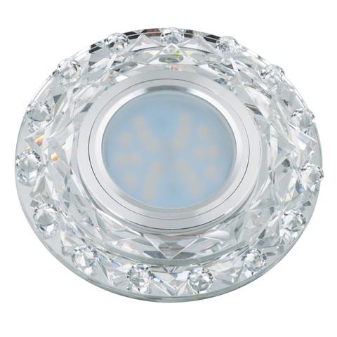 DLS-L130 GU5.3 CHROME/CLEAR Светильник декоративный встраиваемый, серия Luciole. Без лампы, цоколь GU5.3. Доп. светодиодная подсветка 3Вт. Металл/стекло. Хром/белый. ТМ Fametto