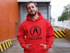Мужская толстовка красная с капюшоном (худи, кенгуру) и принтом Акура (Acura) 002