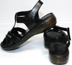 Кожаные босоножки без каблука Evromoda 15 Black.