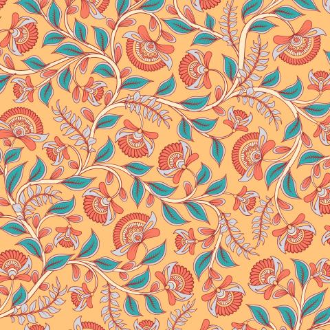 Переплетающиеся цветочные ветви на светло желтом фоне. Индийский стиль. (Дизайнер Irina Skaska)