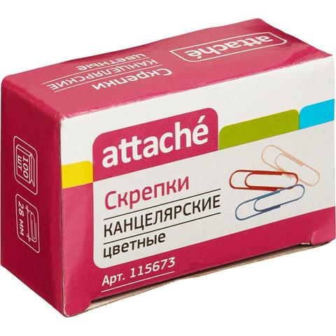 Скрепки Attache цветные металлические с полимерным покрытием 28 мм (100 штук в упаковке)