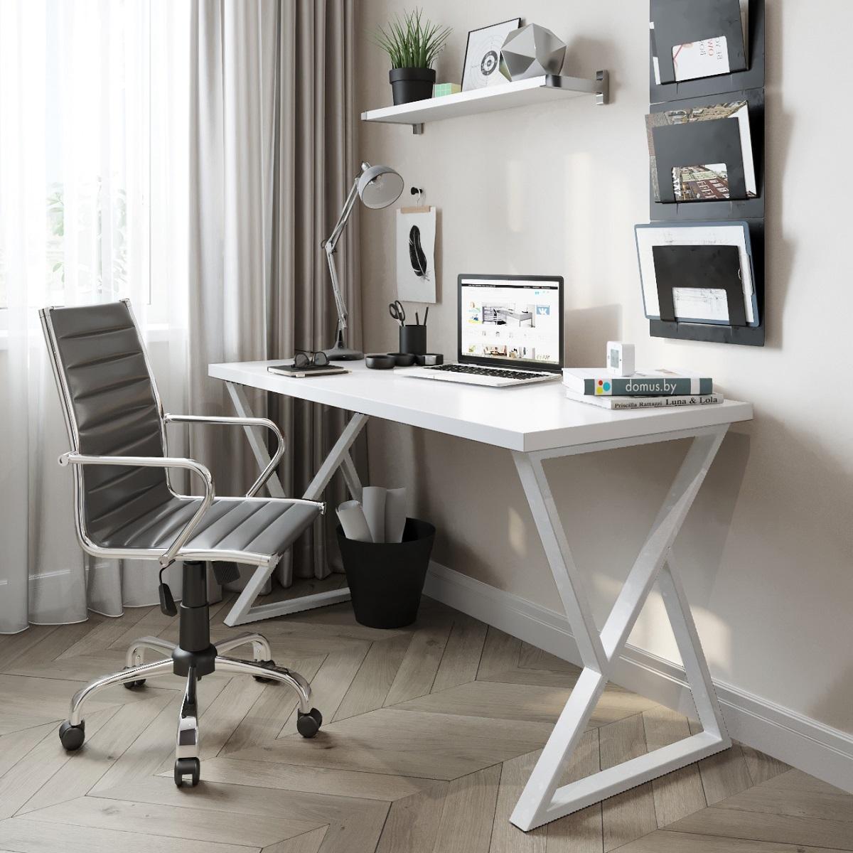 Письменный стол ДОМУС СП014 белый/металл белый
