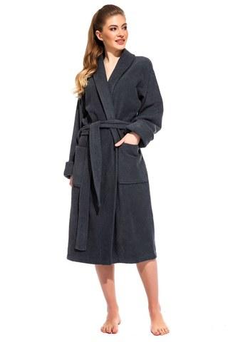 Женский махровый банный халат серый  Grey Queen 305