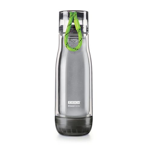 Бутылка стеклянная Zoku Active 475 мл c зеленым ремешком