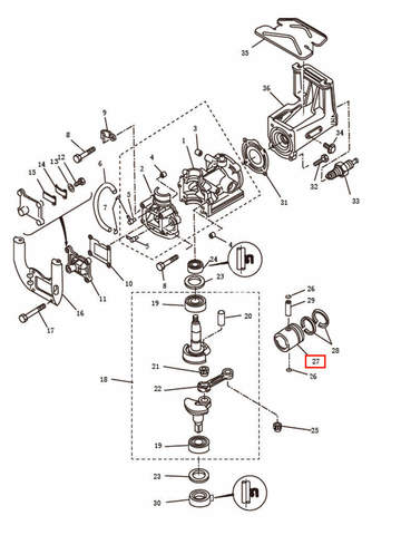 Поршень  для лодочного мотора T2,5 SEA-PRO (2-27)