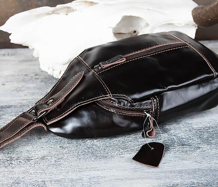 BAG449-1 Рюкзак из натуральной кожи с одной лямкой через плечо фото 06