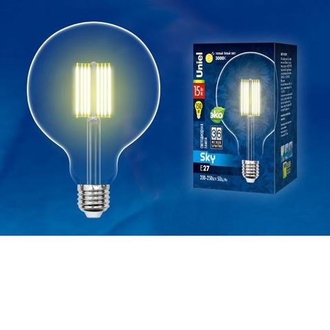 Лампа светодиодная UNIEL LED-G125-15W/3000K/E27/CL PLS02WH