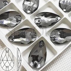 Стразы серые пришивные Black Diamond, Drope капля купить оптом