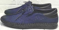 Стильные мокасины туфли мужские с перфорацией casual Luciano Bellini 91268-S-321 Black Blue.