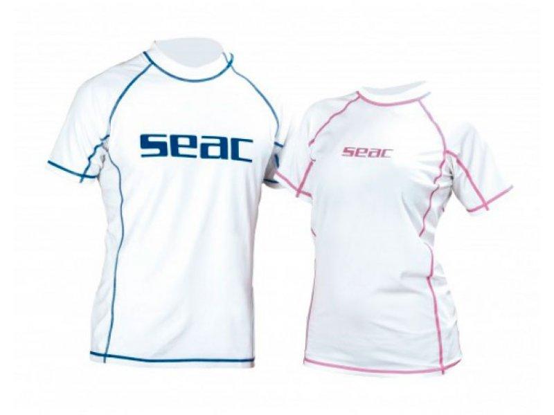 Футболка SeacSub из лайкры с короткими рукавами, белая/розовая прострочка, женская