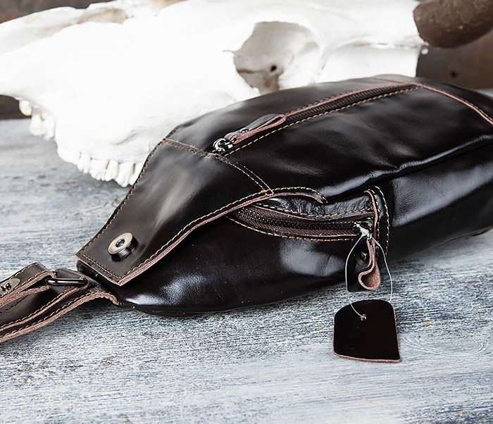 BAG449-1 Рюкзак из натуральной кожи с одной лямкой через плечо фото 07