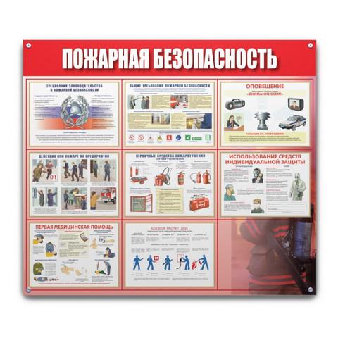Информационный стенд настенный Пожарная безопасность 91х70 см пластиковый