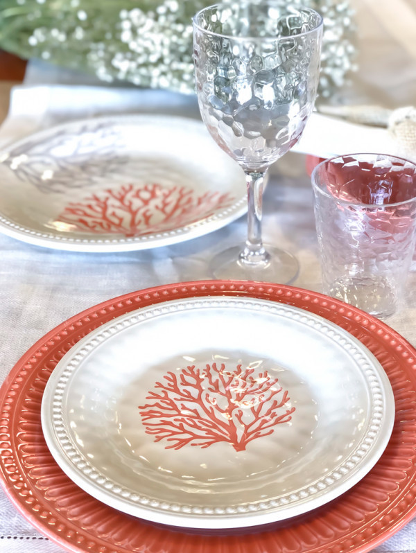 Melamine Dinner Plate Harmony collection, Coral 6 UN