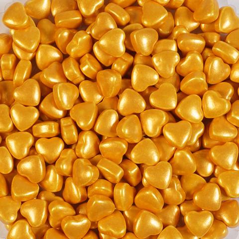 Посыпка  3D Сердечки золотые 9 мм, 50гр