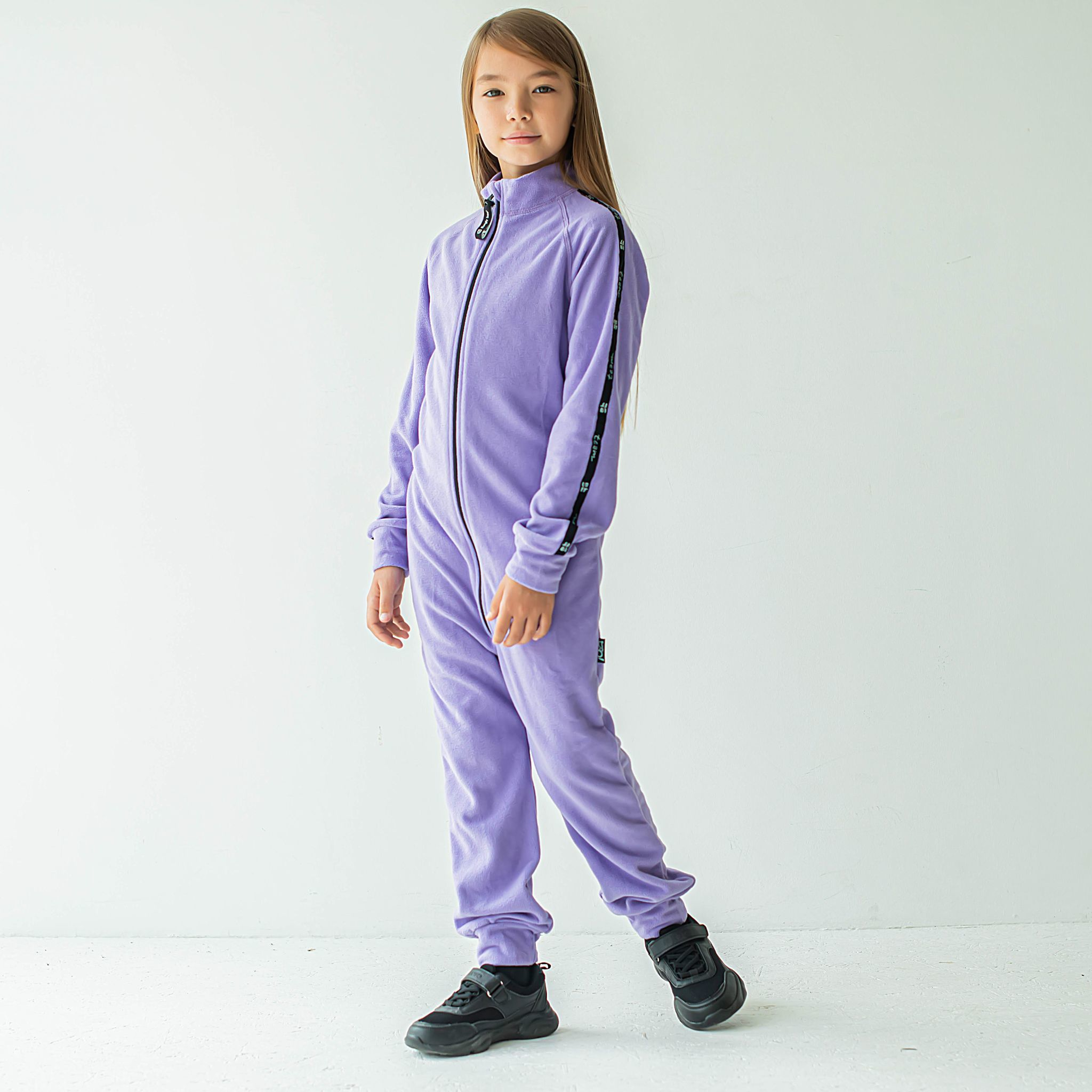 Thermal fleece jumpsuit with stripes for teens - Lilac