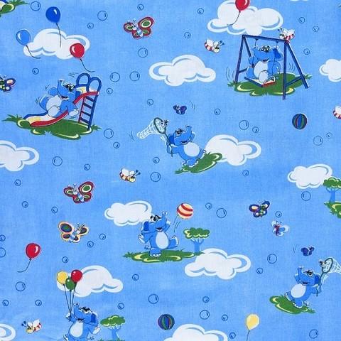 Бязь ГОСТ детская 150 см 315/1 Слоны с шариками цвет голубой