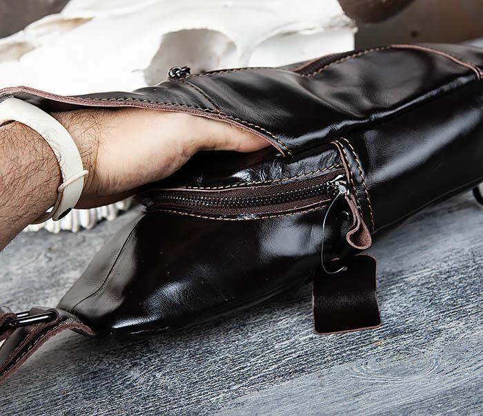 BAG449-1 Рюкзак из натуральной кожи с одной лямкой через плечо фото 08