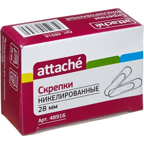 Скрепки Attache металлические никелированные 28 мм (100 штук в упаковке)