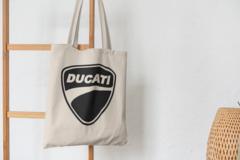 Сумка-шоппер с принтом Ducati (Дукати) бежевая 004
