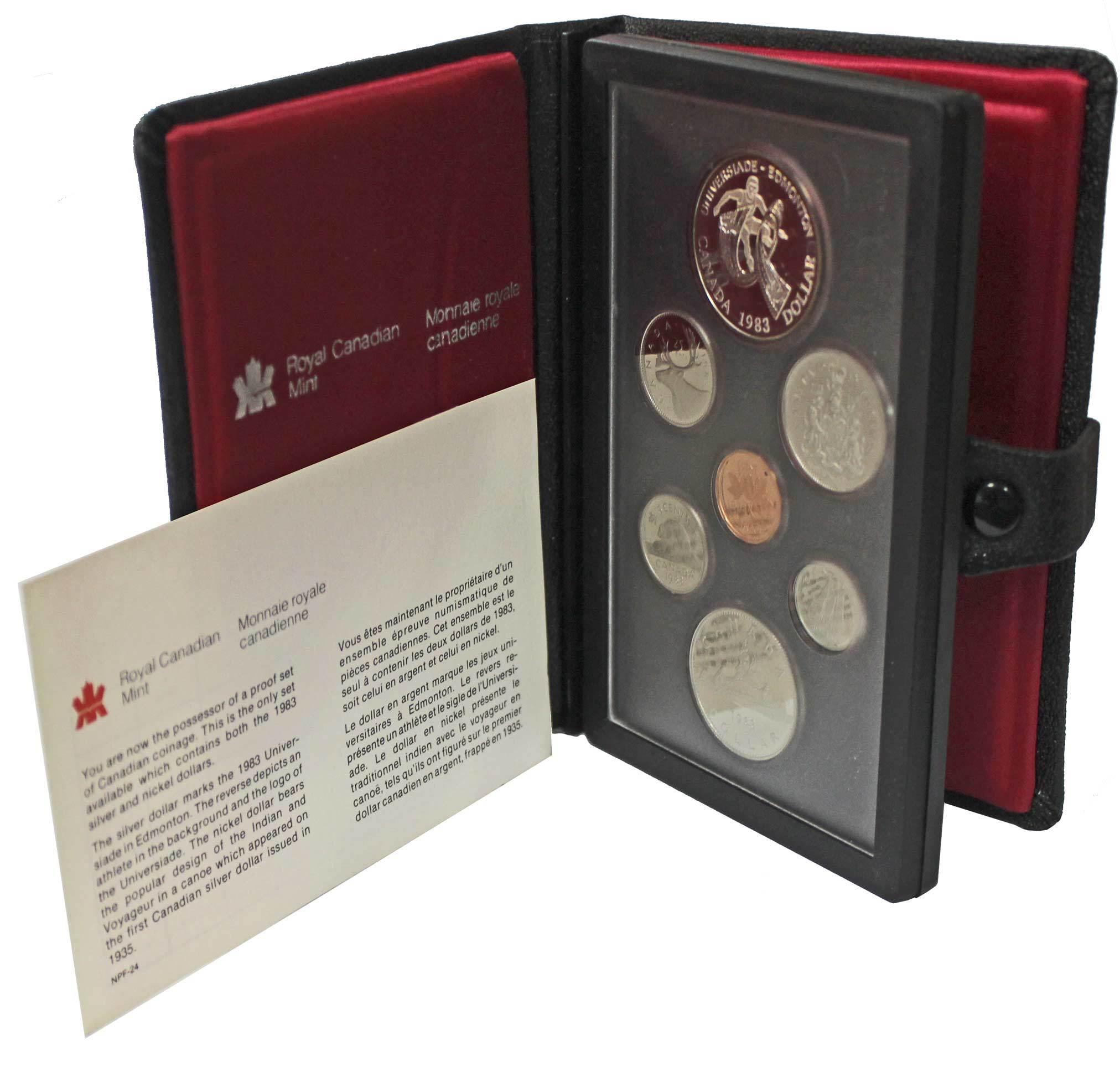 Набор монет Канады 1983 год, в кожаном футляре (Серебро, никель, бронза). PROOF