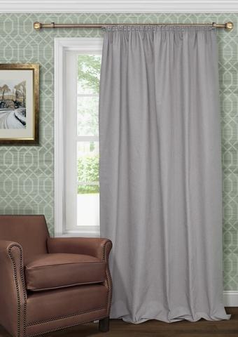 Готовая штора из чистого хлопка с подхватом Адриана серый