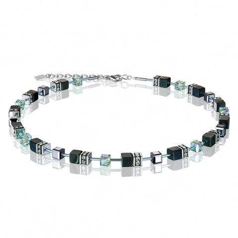 Колье Coeur de Lion 4015/10-0521  цвет чёрный, зелёный, серый, серебряный