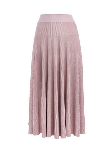 Женская юбка-миди светло-розового цвета с поясом на резинке - фото 1