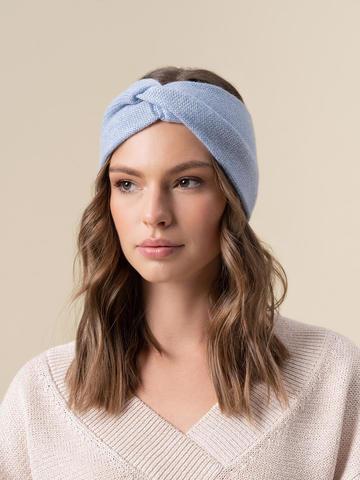 Женская повязка на голову голубого цвета из кашемира - фото 4