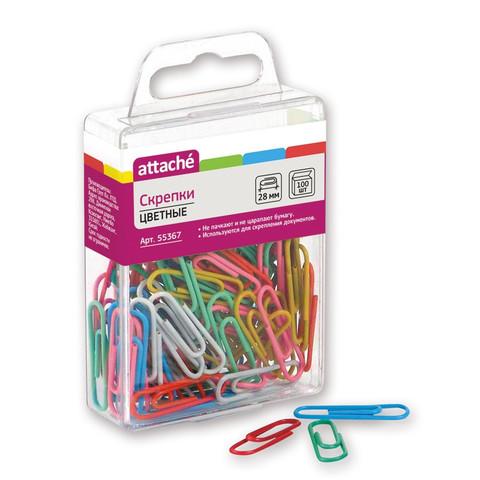 Скрепки Attache цветные металлические с полимерным покрытием овальные 28 мм (100 штук в упаковке)