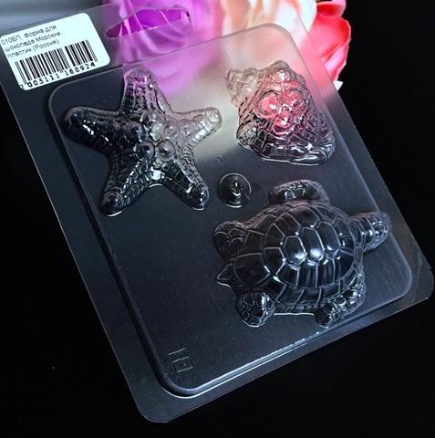 Пластиковая форма для шоколада дет. МОРСКАЯ ЧЕРЕПАХА, ЗВЕЗДА, РАКУШКА (45х45мм)