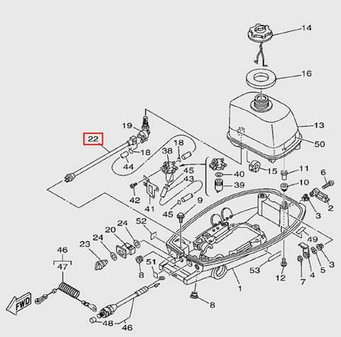 Привод переключения топливного крана  для лодочного мотора T5 Sea-PRO (7-22)