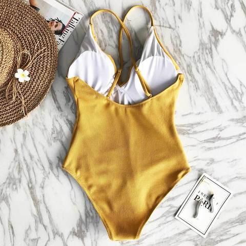 купальник слитный желтый горчичный с рюшем с чашечками 3