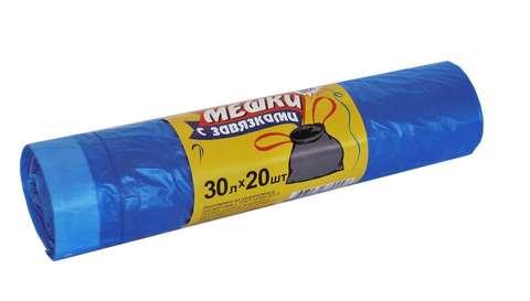 Мешки мусорные 30л 51х60 (15) с завязкой в рулонах (по 20 шт)