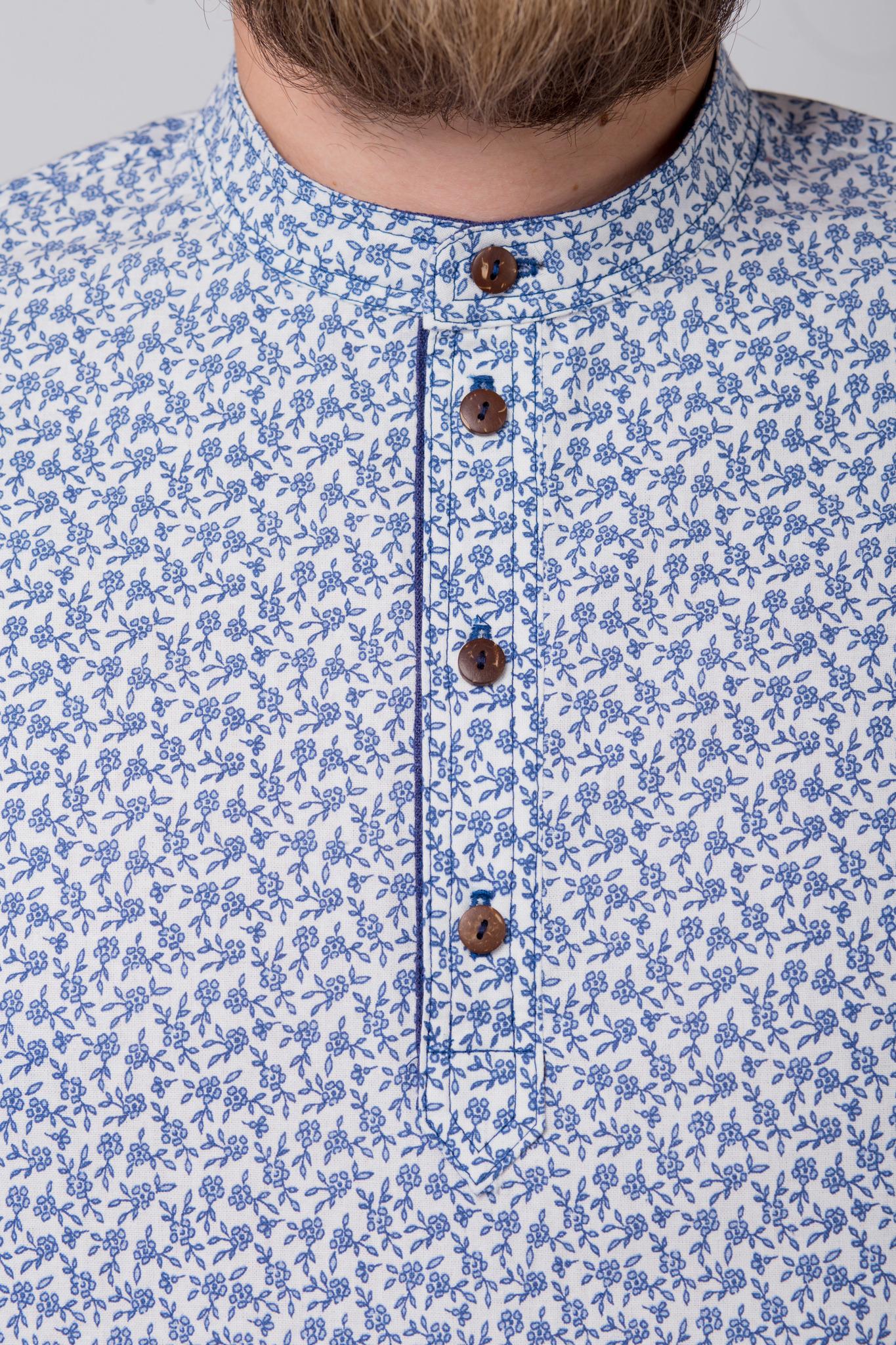 Рубашка льняная Енисейская застёгнутый ворот