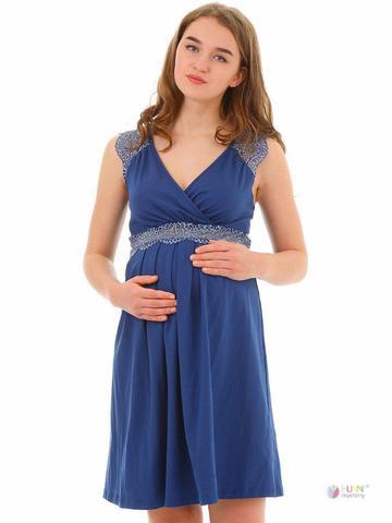 ФЭСТ, Hunny Mammy. Сорочка для беременных и кормящих с кружевом на плечах, синий