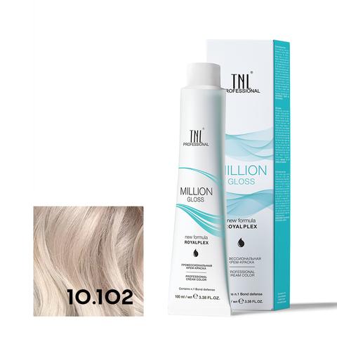 Крем-краска для волос TNL Million Gloss оттенок 10.102 Платиновый блонд пепельный жемчужный 100 мл