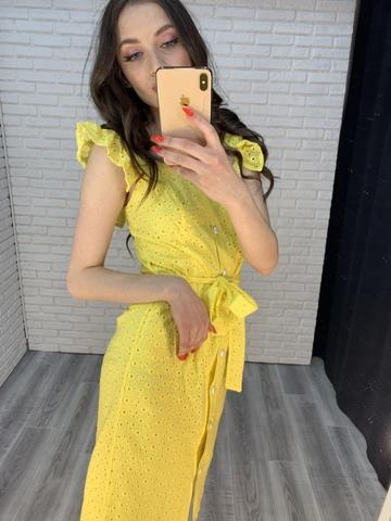 желтое платье с пуговицами оптом