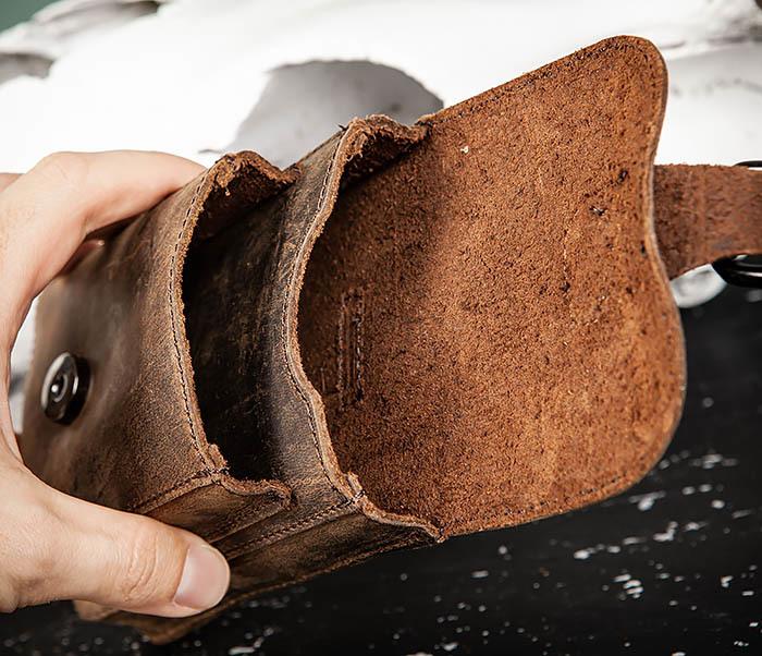 BAG498-2 Мужская кожаная сумка на пояс коричневого цвета фото 08