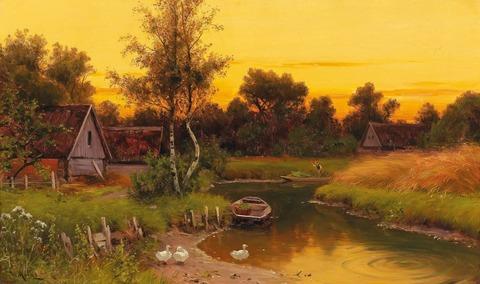Картина раскраска по номерам 50x65 Закат в деревне (арт. OTG6034)