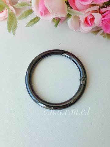 Карабин-кольцо темный никель, D 38 мм