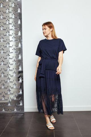 Ermanno Firenze Платье трикотажное с кружевом